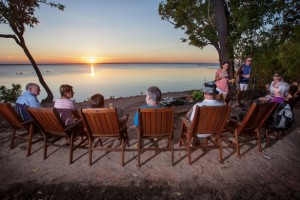 tourists enjoying Cobourg sunset